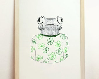 Frog Print Green Art Elegant Fashion Design Colorful Rare Nature Animal Clothes Plants OOAK Original Gift Idea Kids MinimalistA4 8.3x11.7in