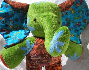 Green turquoise ELEPHANT, stuffed elephant blue green, soft elephant GECKOS, stuffed animal elephant decor, LUXURY elephant Decor ooak