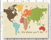 World map artwork Oh, the Places you'll Go! Dr Seuss Office art Family Room Living room Kids wall art blue green brown bedroom art children