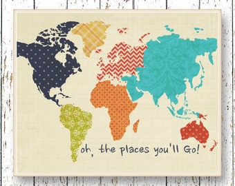 World map artwork, Oh, the Places you'll Go! Dr Seuss, Family Room, playroom art, Nursery Wall Art, navy Blue orange yellow green, Baby Art
