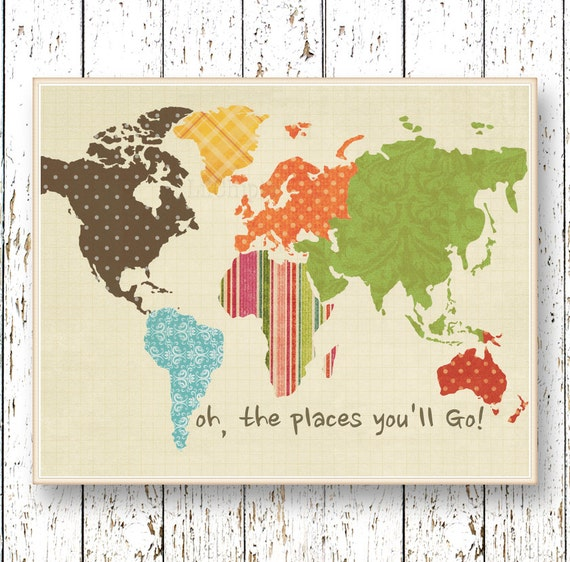 World Map Artwork Oh The Places You Ll Go Dr Seuss
