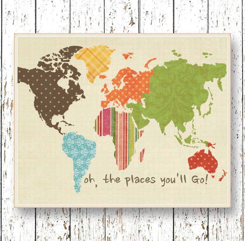 World map artwork Oh the Places you'll Go Dr Seuss