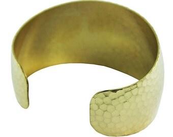 """Hammered Domed Brass Cuff Bracelet 1-3/8"""" Wide  (MSBR1043)"""