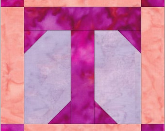 Letter T Paper Piece Foundation Quilting Block Pattern