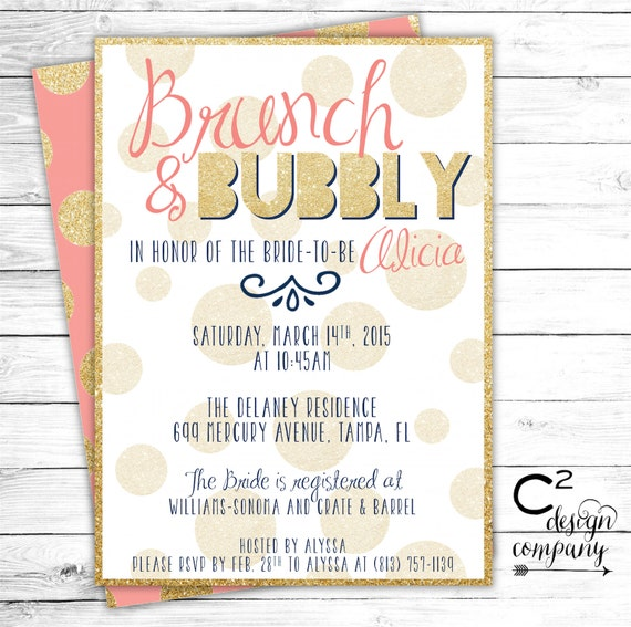 Brunch & Bubbly Coral Bridal Shower Invitation By