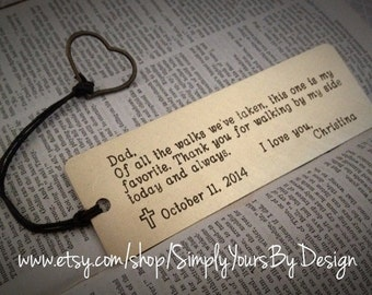Custom Bookmark - Personalized Metal Bookmark - Men's Bookmark - Gift for Him - Father of the Bride Gift