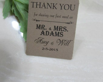 Personalized Favor Tags 2 1/2'', Wedding tags, Thank You tags, Favor tags, Bridal Shower Favor Tags, First dinner tags, first meal