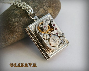 Steampunk  jewelry. Steampunk Book  pendant /  locket /  necklace , Steampunk jewelry , Clockwork Watch Movement Pendant