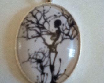 Skull tree cameo necklace