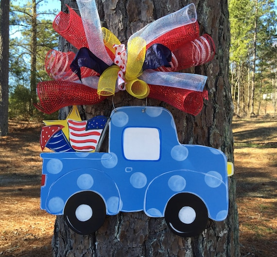 4th Of July Door Hangertruck With Fireworks Door