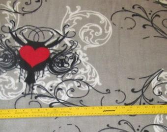 Midnight Hearts Tattoo Fleece Fabric 1 yard + 33 inches RARE VHTF
