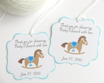 Amazing Baby Shower Favor Tags With Rocking Horse, Kids Party Favor Tags, Blue Baby  Shower