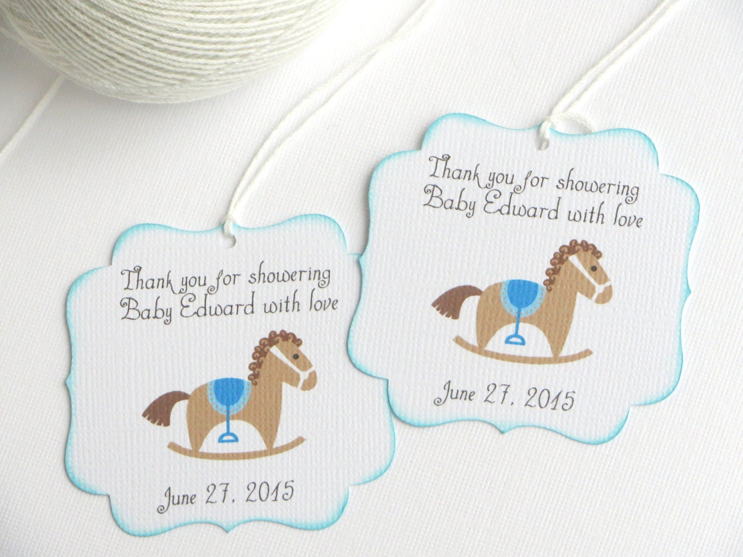 Amazing Baby Shower Favor Tags With Rocking Horse, Kids Party Favor Tags, Blue Baby  Shower Thank You Tags, Blue Birthday Party Favor Tags