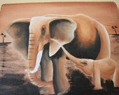 """African Canvas Painting: Mother and Baby Elephant on the Savanna (9"""" by 7.25"""")"""