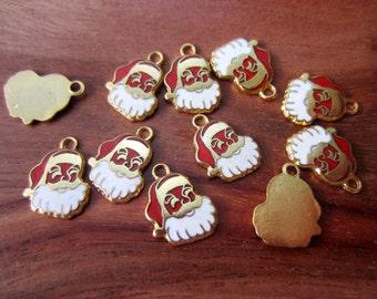 Vintage Santa St. Nick Saint Nick Christmas Enamel Charms Gold Tone