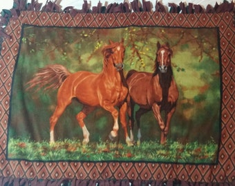 Fleece Blanket with Horses