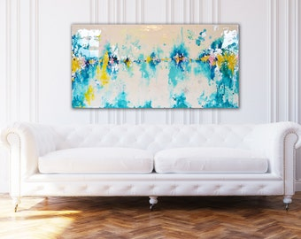 "SOLD! Original 24"" x 48"" Painting in shades of teal, turquoise,yellow, white, touches of navy and pink Real Silver Leaf Resin Coat"