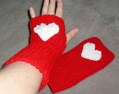 Red Fingerless Mitts, with White Woven Heart Embellishment, Winter Accessories, Christmas, Valentine Day, Love