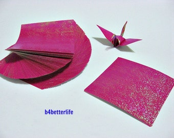 "100 Sheets 3"" x 3"" Maroon Color DIY Chiyogami Yuzen Paper Folding Kit for Origami Cranes ""Tsuru"". (TX paper series)."
