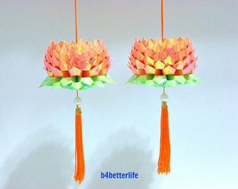 A Pair Of Orange Color Medium Size Origami Hanging Lotus. (AV paper series).
