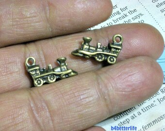 "Lot of 24pcs Antique Bronze Tone ""Locomotive"" 2 Sided Metal Charms. #BC3046."