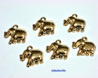 "Lot of 24pcs ""Elephant"" Gold Color Plated Metal Charms. #XX8w."