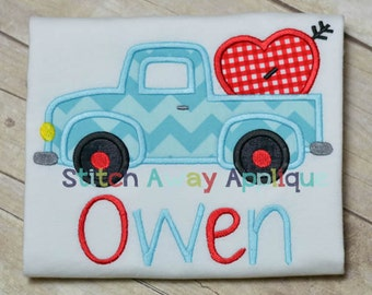 Valentine Heart Truck Machine Applique Design