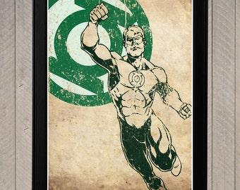 Green Lantern Minimalist Poster, Movie Poster, Art Print