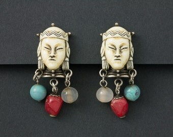 Vintage Selini Asian Princess Earrings with Beads