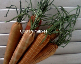 Primitive Carrots Bowl Filler 5 1/2 inches long - Country Carrots - Primitive Handmade Carrots - Primitive Spring Carrots - Homespun Carrots