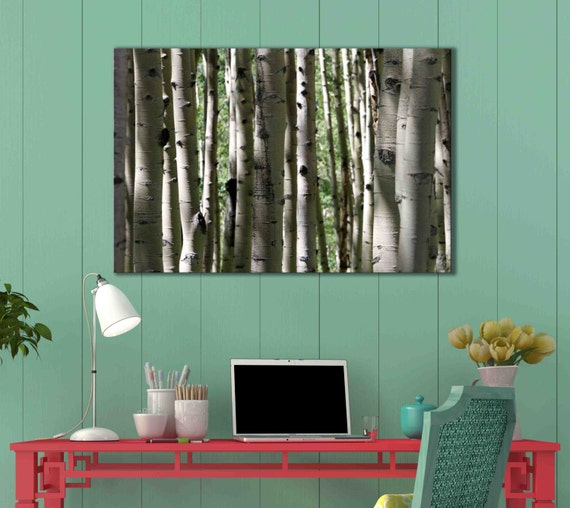 Canvas wall decor aspen tree wood fine art by caughtitoncanvas for Aspen tree wall mural