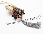 Sale- 50 % Soutache pendant tutorial. Boho pendant tutorial. Instant Download, how to make jewelry tutorial, soutache pattern.