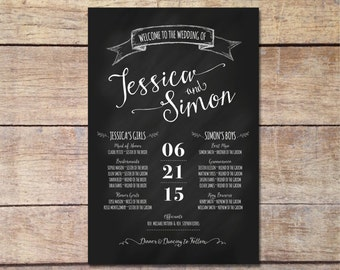 Bridal Party Sign, Chalkboard Wedding, Wedding Sign, Welcome Sign, Wedding Party Sign, Rustic Wedding, Wedding Program, DIY Printable Sign