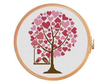 Tree of hearts with birds on a swing in a romantic conversation - Cross stitch pattern