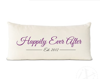 personalize this Happily Ever After pillow with your date. Personalized Est. Pillow - Happily Ever After 2nd Anniversary Cotton Gift
