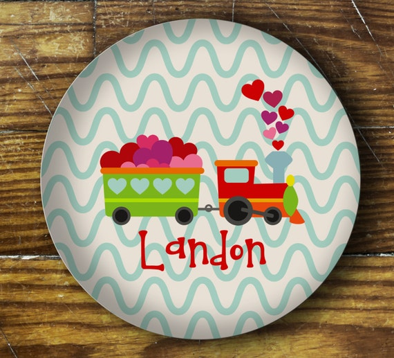 Personalized Dinner Plate or Bowl-Train