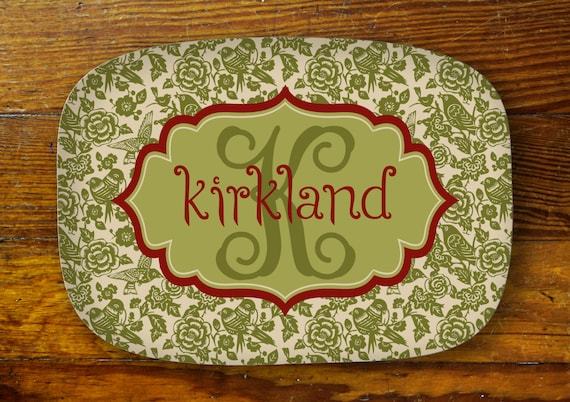 Personalized Serving Platter-floral bird
