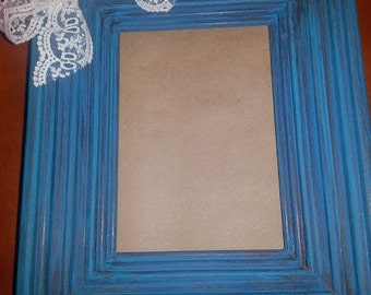 Turquoise Distressed Picture Frame with Lace Bow