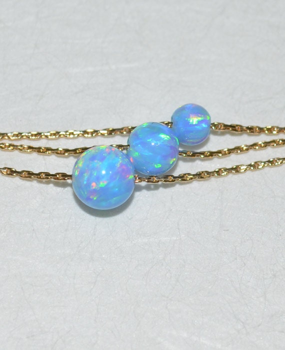 Opal Necklace, Tiny Dot Necklace, Small Opal Ball Gold Necklace, blue opal charm, simple dainty circle opal bead necklace, opal jewelry