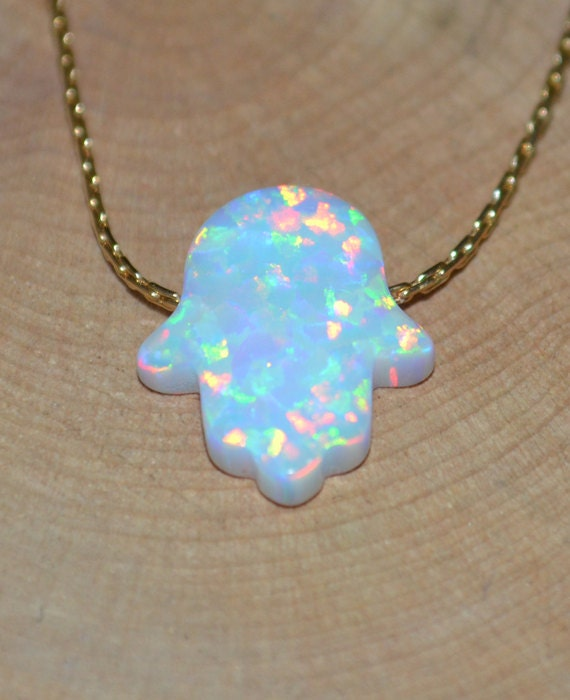white opal hamsa hand necklace tiny opal necklace simple