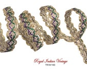 "Royal Decorative Sequins Trim Woven Sari Border Lace Sewing Handmade Ribbon Trim Supplies 0.5"" Width By The Yard Fabric Trim Sewing TR/W/160"