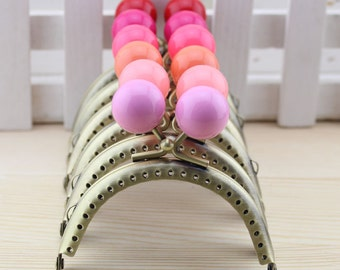 1 PCS, 10.5cm / 4.2 inch Half Round Colorful Solid Bubble Bronze Kiss Clasp Lock Purse Frame, C21