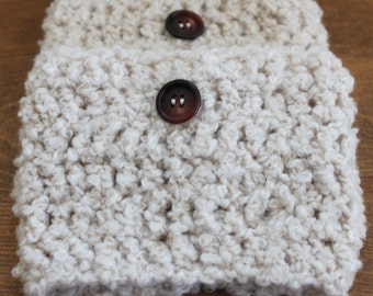 Stylish Boot Cuffs Cream Color with Brown Tone Buttons - Ready To Ship