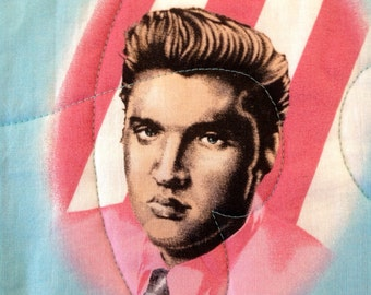 "Elvis Presley Pieced Throw Quilt, 37"" x 52"""