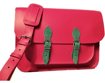 Pink Satchel Pink Leather Satchel Leather Satchel in Pink Handmade Satchel Made in Britain Pink Handbag Pink Messenger Bag