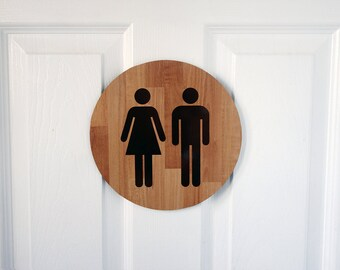 Wood pattern restroom sign