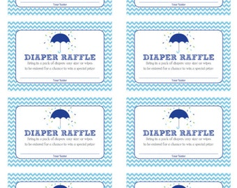 Printable Diaper Raffle tickets for Blue Umbrella Sprinkle Shower Invitation