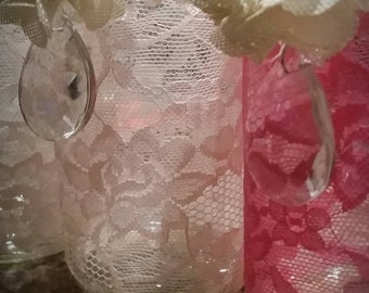 Bright pink Lace, crystal, pearl Mason jar with tealight