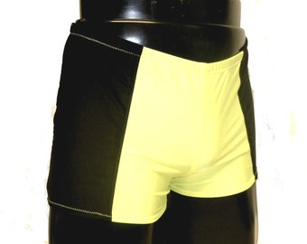 Mens Lycra Low Rise Hotpants/Shorts Choice of Colour/Size S M L XL Neon Panel Spandex Yoga/Dance/Festival/Swim Stretch Custom Made Mooners
