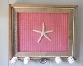 Jewelry Organizer Holder Framed Rustic Barnwood Barn Wood Frame Starfish Pink Burlap Nautical Embellished Beach coastal